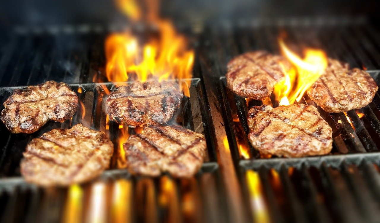 burgers, fire, grill
